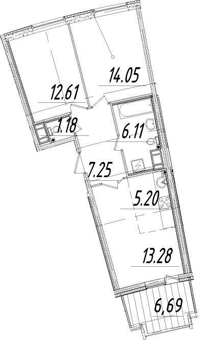 3Е-комнатная, 63.35 м²– 2