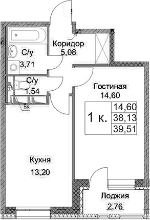 1-комнатная, 39.51 м²– 2