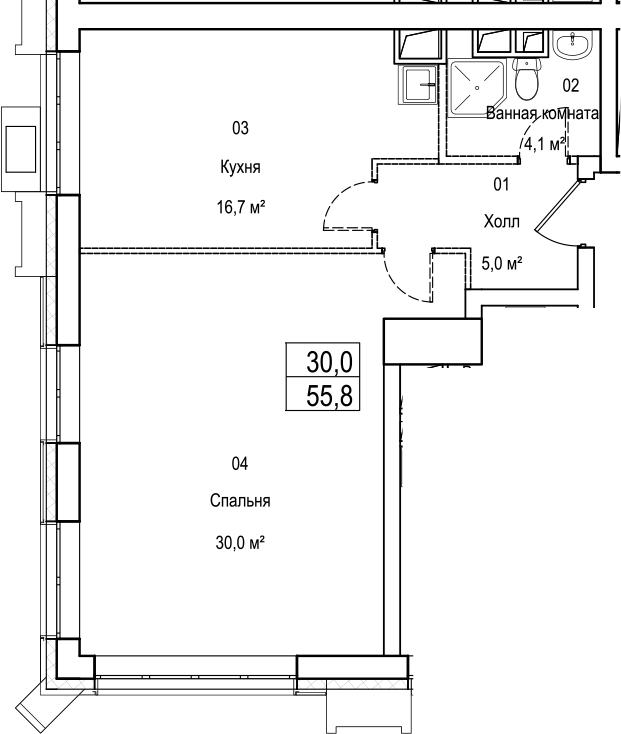 2Е-комнатная, 55.8 м²– 2