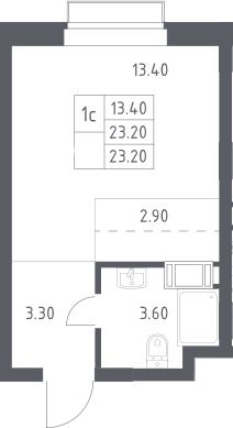 Студия, 23.2 м², 5 этаж
