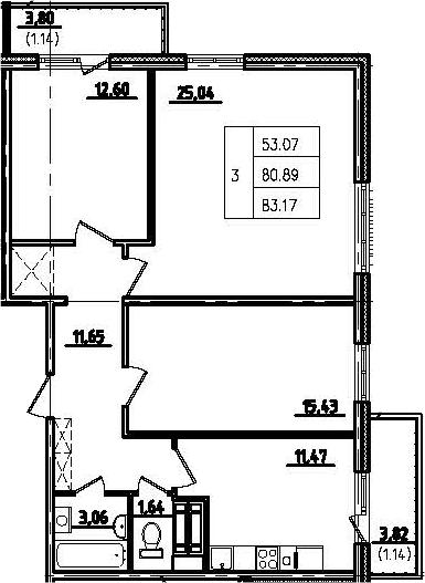 3-к.кв, 88.5 м²