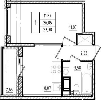 1-к.кв, 26.05 м²