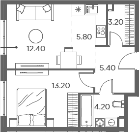 2Е-комнатная, 44.2 м²– 2