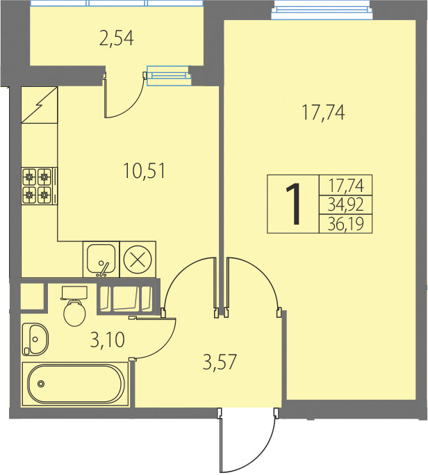 1-к.кв, 37.46 м²