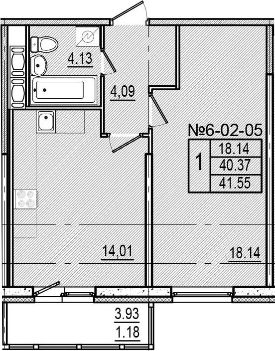 1-к.кв, 42.73 м²
