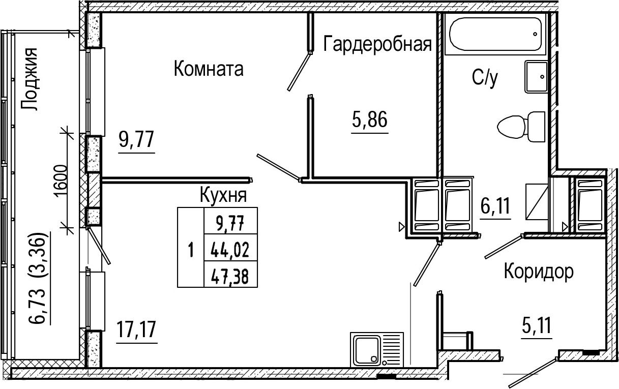 2Е-комнатная, 47.38 м²– 2