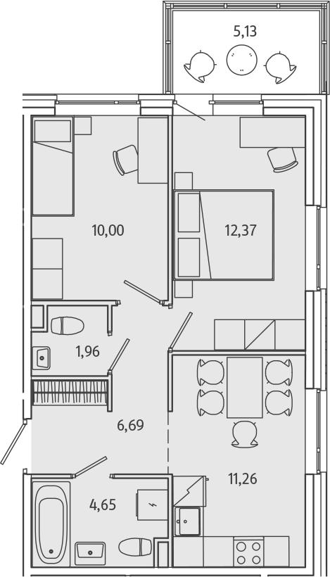 2-к.кв, 52.06 м²