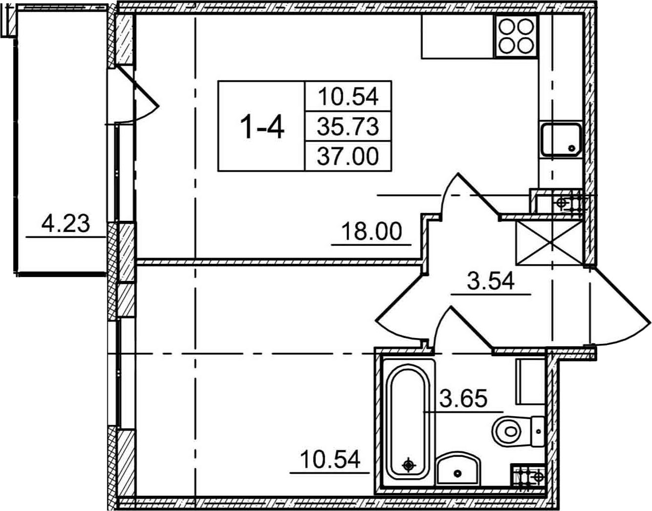 2Е-комнатная, 35.73 м²– 2