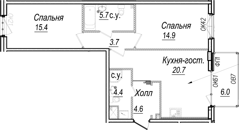3-к.кв (евро), 75.4 м²