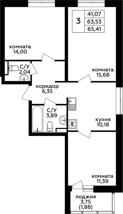 3-к.кв, 65.41 м²