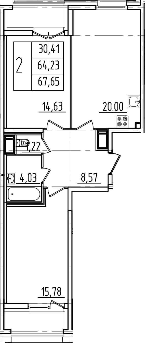 3Е-к.кв, 67.65 м²