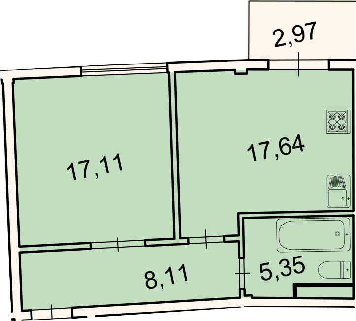 2Е-комнатная квартира, 48.2 м², 3 этаж – Планировка