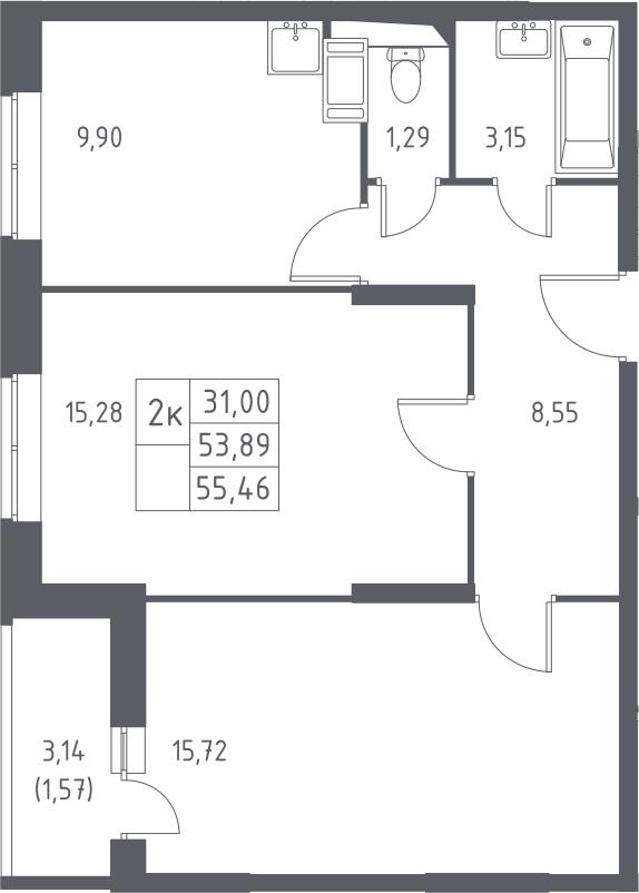 2-комнатная, 55.46 м²– 2