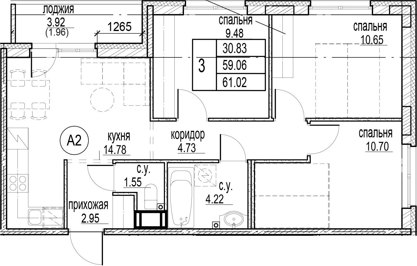 3-к.кв, 62.98 м²