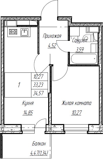 2Е-к.кв, 34.57 м², от 4 этажа