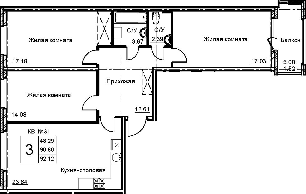 4-к.кв (евро), 95.67 м²