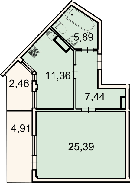 1-к.кв, 52.3 м², 3 этаж