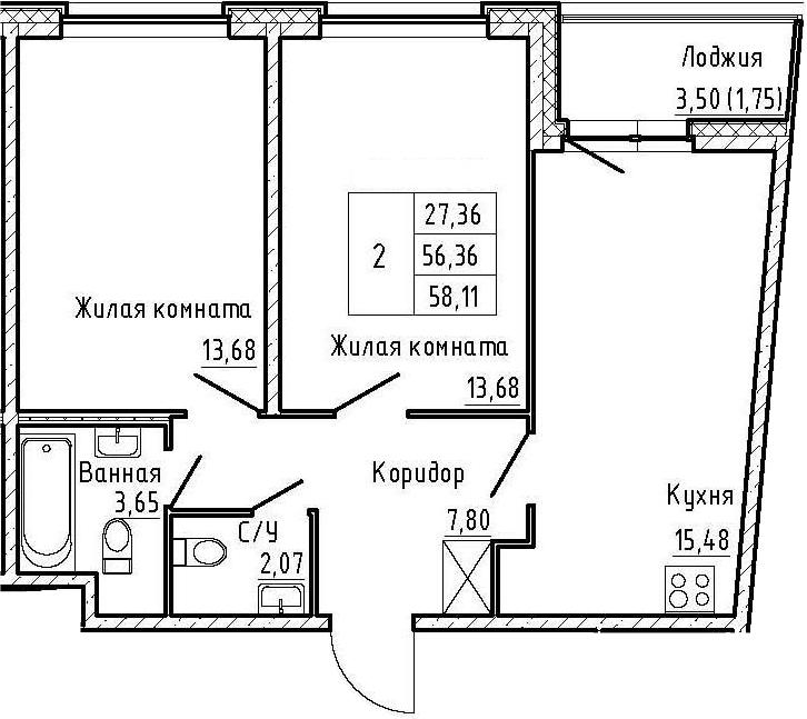 3Е-к.кв, 58.11 м², 2 этаж