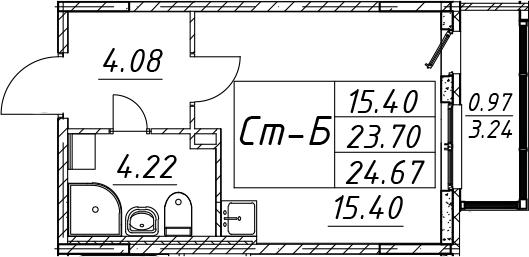 Студия, 26.93 м²