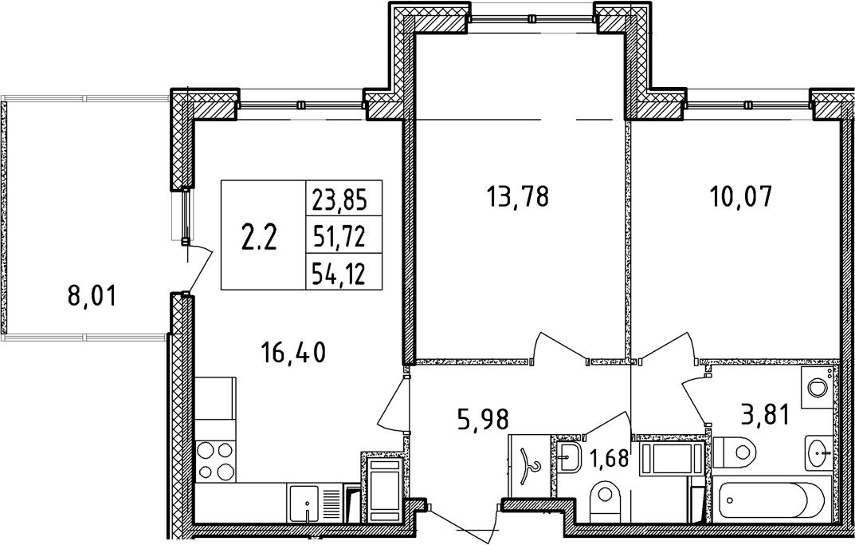 3Е-комнатная, 51.72 м²– 2