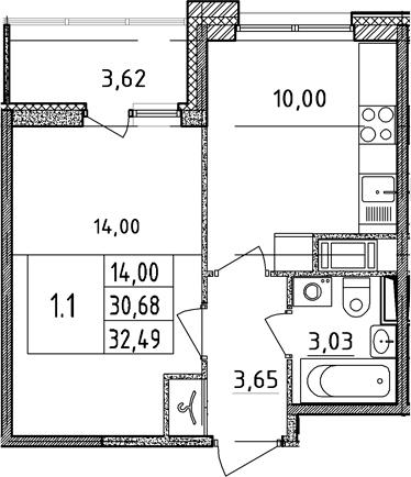 1-комнатная, 30.68 м²– 2