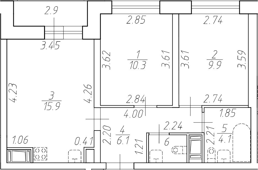 3Е-комнатная, 48 м²– 2