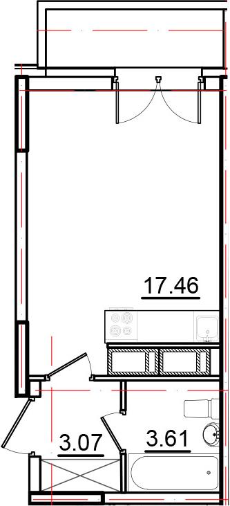 Студия, 25.17 м², 16 этаж