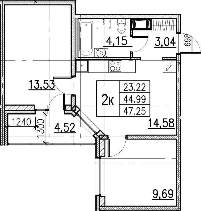 3Е-комнатная, 47.25 м²– 2