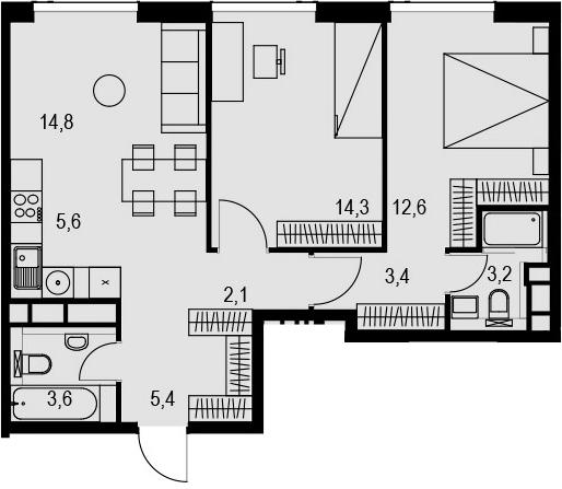 3Е-к.кв, 65 м², 25 этаж