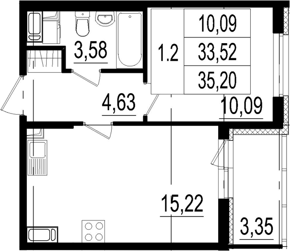 2Е-к.кв, 33.52 м², 2 этаж