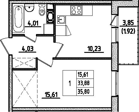 1-к.кв, 35.81 м², 1 этаж