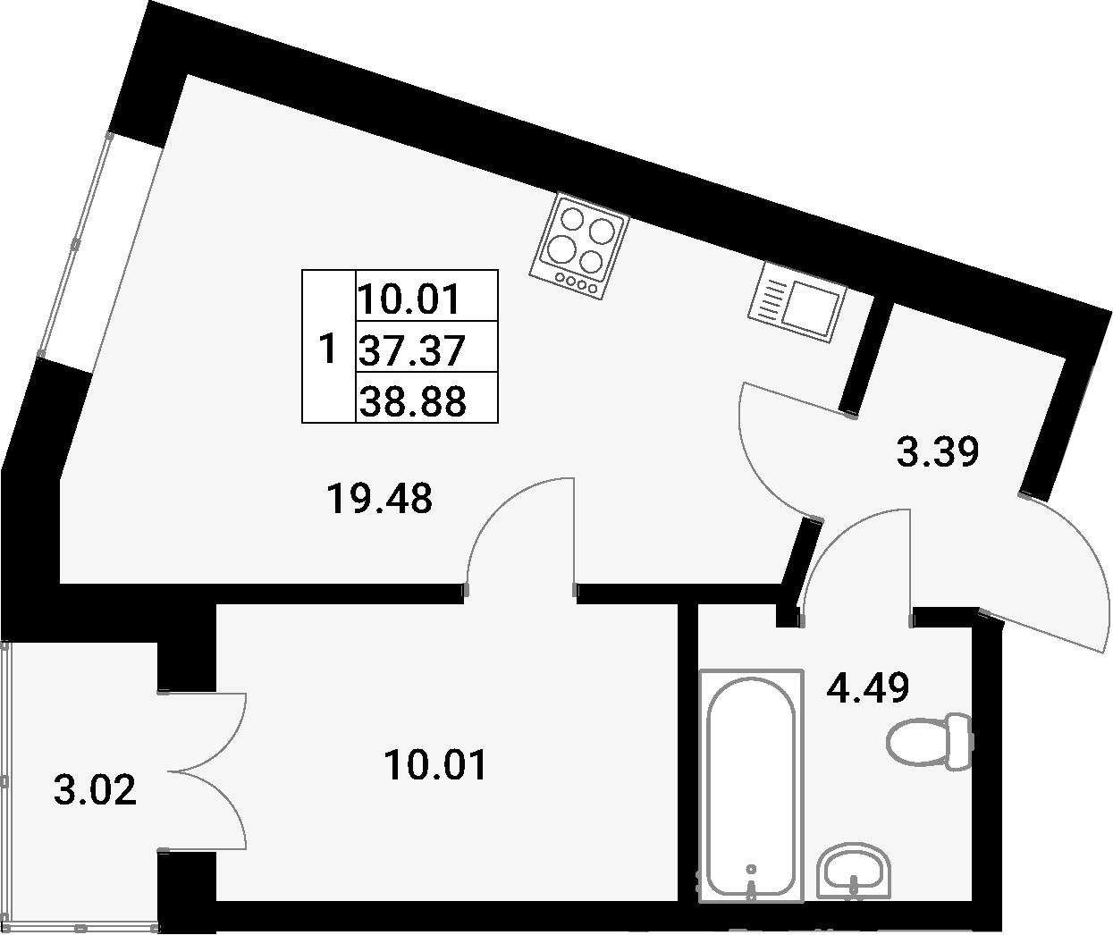 2Е-комнатная, 38.88 м²– 2