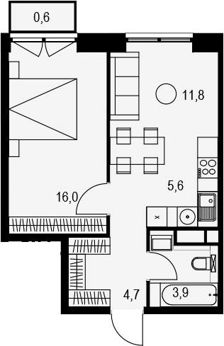 2Е-к.кв, 42.6 м², 10 этаж