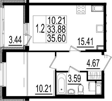 2Е-к.кв, 33.88 м², 2 этаж