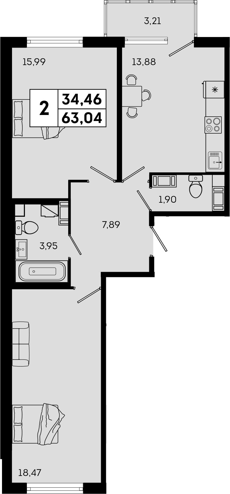 2-комнатная, 63.04 м²– 2