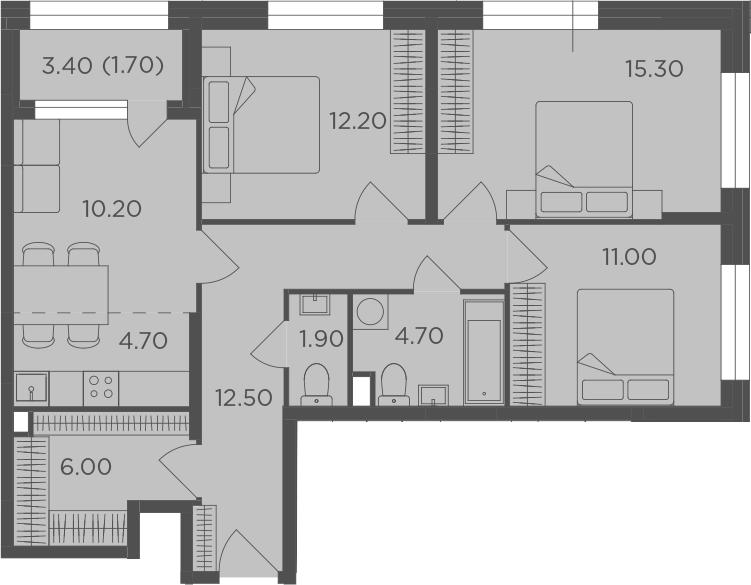 4Е-комнатная, 80.2 м²– 2