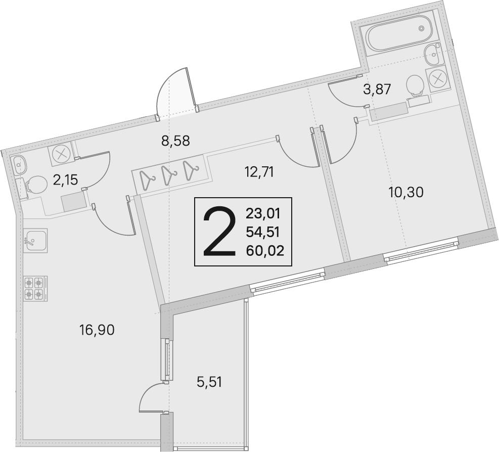 3Е-к.кв, 54.51 м²