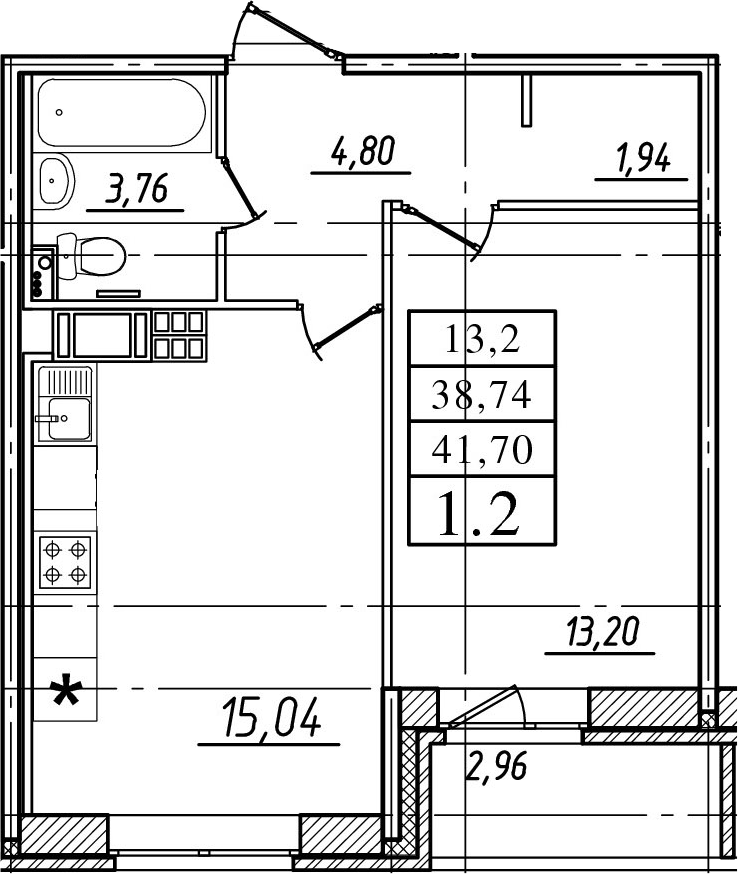 2Е-к.кв, 38.74 м²