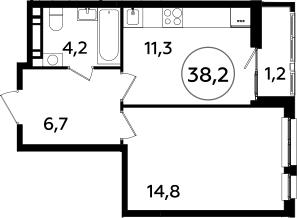 1-комнатная, 38.2 м²– 2