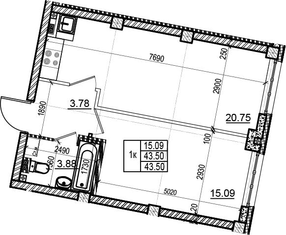 2Е-комнатная, 43.5 м²– 2