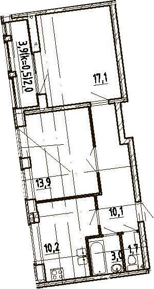2-к.кв, 58 м², 10 этаж