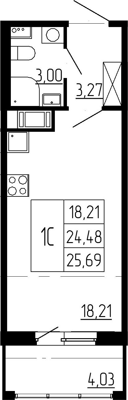 Студия, 24.48 м², 5 этаж