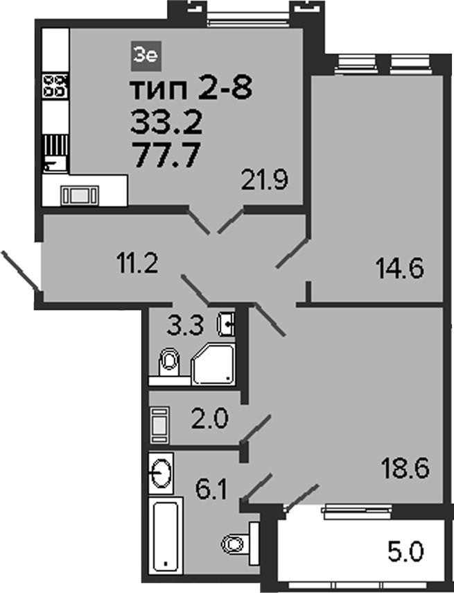 3Е-к.кв, 77.7 м², 6 этаж