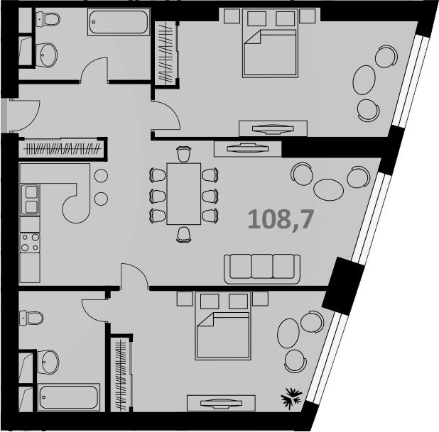 Своб. план., 107 м², 56 этаж