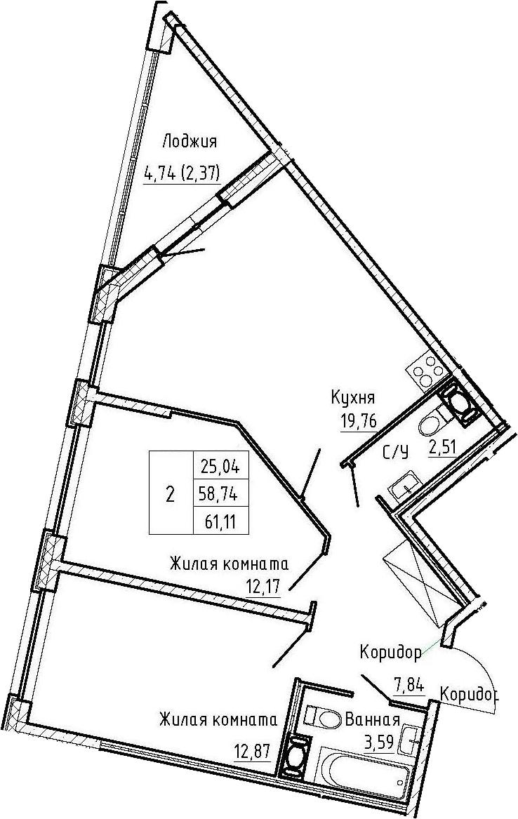 3Е-комнатная, 61.11 м²– 2