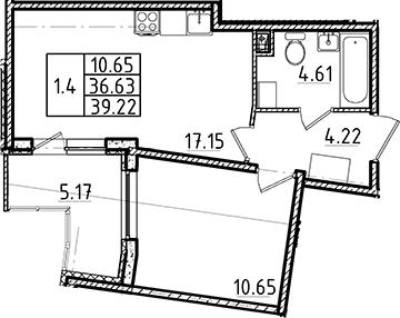 2Е-к.кв, 36.63 м², 1 этаж