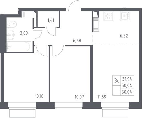 3Е-комнатная, 50.04 м²– 2