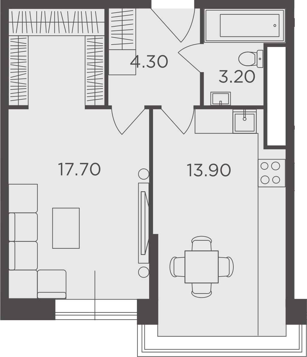 1-к.кв, 39.1 м², 23 этаж