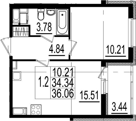 2Е-к.кв, 34.34 м², 8 этаж