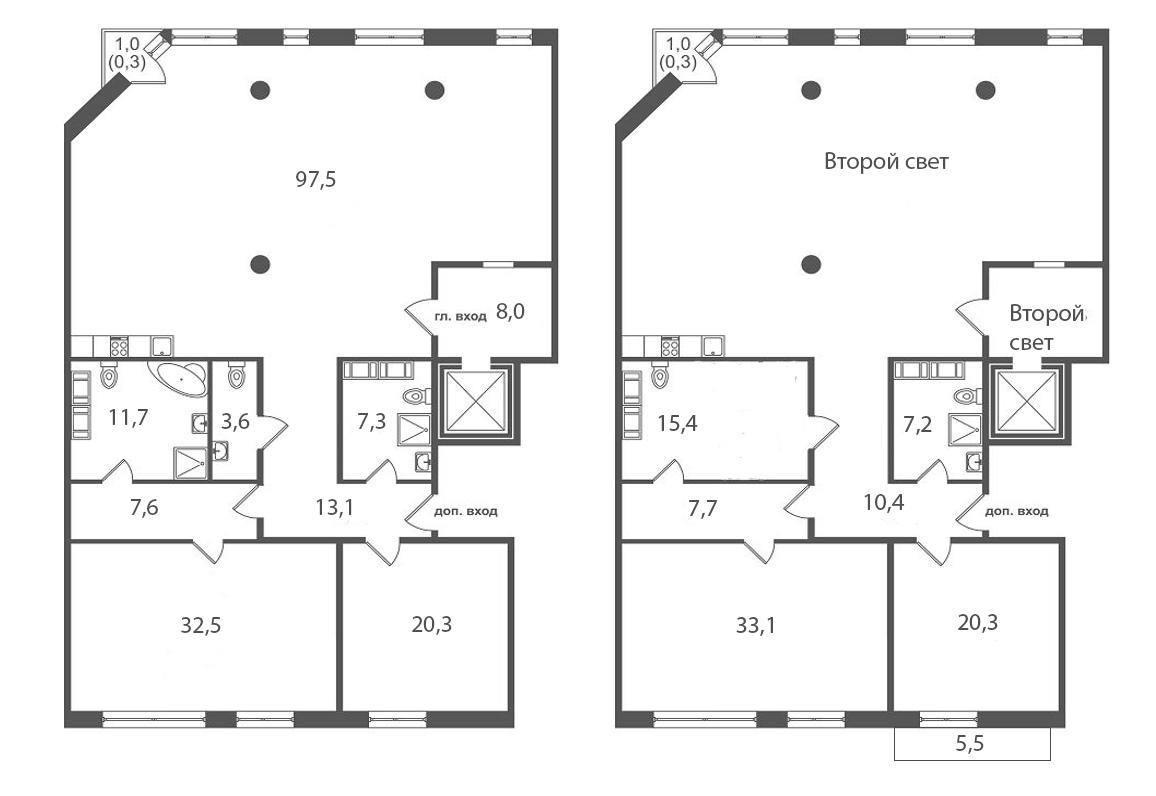 4-комнатная, 295.7 м²– 2